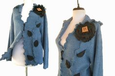 Floral Cardigan Sweater XL by RebeccasArtCloset on Etsy
