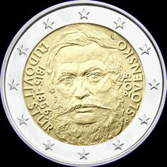 2€ Eslovaquia 2015 -Ludovit- Piece Euro, Euro Coins, Coins Worth Money, Coin Worth, Gold And Silver Coins, Commemorative Coins, World Coins, Portugal, Personalized Items