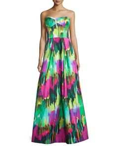 TBRFH Milly Strapless Sweetheart-Neck Printed Gown, Emerald