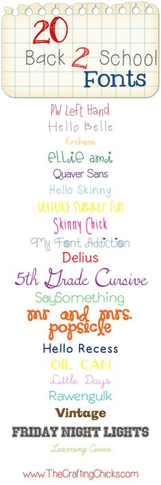 20 Back to School Fonts Cute Fonts, Fancy Fonts, Typography Fonts, Hand Lettering, Typography Design, Cursive Fonts, School Fonts, Diy Spring, Web Design
