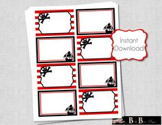 Pirate Birthday Party Rectangular Labels- PRINTABLE- INSTANT DOWNLOAD