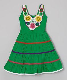 Love this Green Crocheted Collar Tiered Dress - Toddler & Girls on #zulily! #zulilyfinds