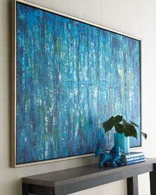 """Blue Jinlu Painting An original oil painting in shades of blue is presented in a gold and black pine frame. Because each work of art is painted by hand, each will vary slightly. From the John-Richard Collection. 72""""W x 2""""D x 49""""T. Imported."""