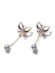 Wonderland Earrings - Akoya cultured pearls set in 18k rose gold. http://www.mikimoto.co.uk/wonderland-earrings-792.html