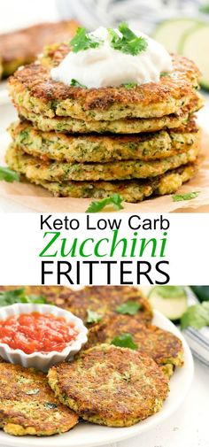 These easy zucchini fritters are healthy, cheesy, crispy. They make a great side dish. These easy zucchini fritters are healthy, cheesy, crispy. They make a great side dish. Zucchini Side Dishes, Keto Side Dishes, Low Carb Chicken Recipes, Healthy Low Carb Recipes, Low Carb Zucchini Recipes, Keto Recipes, Healthy Zucchini Fritters, Low Carb Vegetables, Healthy Foods