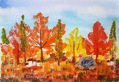 С наступлением осени рисуем пейзаж отпечатками осенних листьев в смешанной технике акварель-гуашь. фото 1