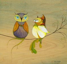 Fancy little owl couple calendar art - by Malathip Kriheli