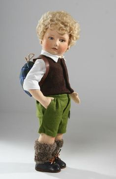 """17"""" jointed felt Peter doll (no. 46220), from the Little Children Series, made in an edition of 250, United States, 1981-84, by R. John Wright."""