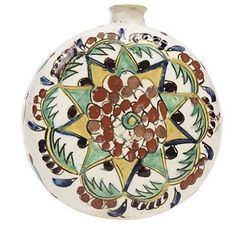 This flask was made in Kütahya, Ottoman Empire (West Anatolia), probably century. Traditional Tile, Turkish Tiles, Ottoman Empire, Earthenware, Old Pictures, Ceramic Pottery, 18th Century, Flask, Christmas Bulbs