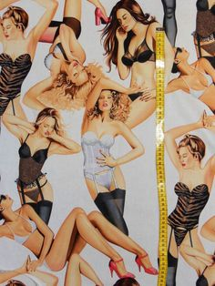 18,00€/m² =  60cmx110cm Designer Stoff: Girls in Dessous -  Alexander Henry