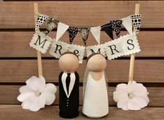 MR & MRS BUNTING for your Custom Wooden Bride and Groom Wedding Couple Cake Topper