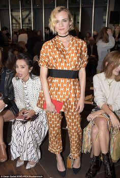 Sleepy style:Diane Kruger was front and center in a muted orange print for the Tory Burch Fall/Winter 2017 collection display at New York Fashion Week in Manhattan on Tuesday