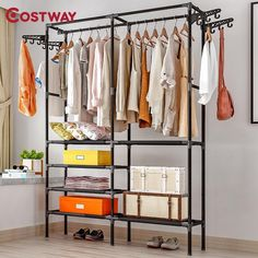 Coat rack floor bedroom hangers brief clothing iron rack household movable storage stand furniture wardrobe garment racks – Hanger rack Closet Shelves, Closet Storage, Closet Organization, Storage Shelves, Clothes Hanger Rack, Clothes Drying Racks, White Closet, How To Iron Clothes, Small Closets