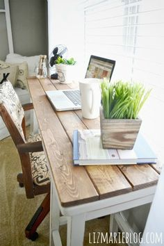 DIY Barstool Desk - Would love to do the wood planks down the back of the desk too so it hides the cords. Maybe with a stencil pattern on it....