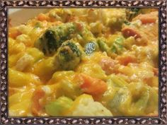 Cheesy Vegetable Bake  Ingredients: 2 1lb bags of California blend frozen Vegetables (thawed) ( Broccoli, Cauliflower, and Carrots) 3/4 chopped Onion (sm.onion) 3/4 cup Sour Cream 1/2 cup Mayonnaise 2 cups Shredded Cheddar cheese 3/4 cup crushed Ritz crackers !/4 tsp salt 1/4 tsp pepper 1/4 garlic powder  Directions :  Pre heat oven to 350 degrees Spray casserole dish with non stick spray Drain any water from thawed vegetables In a medium bowl mix together Onion, Sour Cream, Mayonnaise, 1/2…