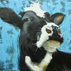 Cow painting 471 20x20 inch original oil painting by Roz by RozArt, $185.00