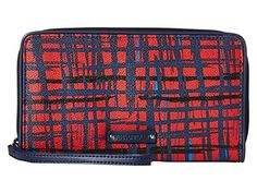 Vera Bradley Large Zip-Around Wallet (Navy/Red Art Plaid). Vera Bradley faux leather large zip around wallet with brand name plaque on front. Large wallet style also functions as wristlet, thanks to its zipper-pull wristlet strap. Sized perfectly for travel documents, like boarding passes and passport. Includes 10 card slots, two bill pockets, two multifunctional compartments, coin purse, ID window and pen holder. Approx. dimensions: 8.25 in L x 5 in H x 1 in W.