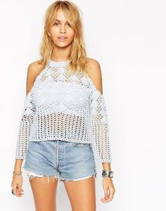 Top by ASOS TALL Lightweight crochet knit Crew neckline Cold shoulder design with scallop edges Regular fit - true to size Hand wash Cotton Our model wears a UK 4 Kimono Crochet, Black Crochet Dress, Crochet Lace, Clothing For Tall Women, Clothes For Women, Shorts E Blusas, Mode Crochet, Crochet Fashion, Irish Crochet