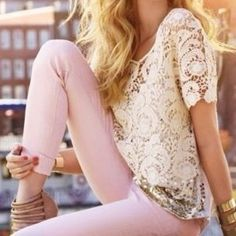 Lace and pale pink...winner