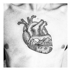 Mountain heart tattoo by Thomas Eckeard tattoo Arm Tattoo, Body Art Tattoos, New Tattoos, Sleeve Tattoos, Heart Tattoos, Tattoo Art, Norse Mythology Tattoo, Outdoor Tattoo, Botanical Tattoo