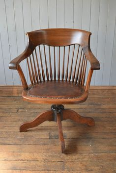 Antique Vintage Wooden Captain s Swivel Office Desk Chair - Armchair CAN DELIVER