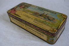 Vintage 1920s French Tin box Bouchees Normandes by MaisonBleue