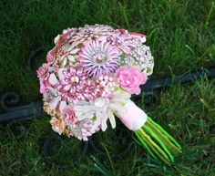 Pretty in Pink Brooch Bouquet from baublesandbrides.com