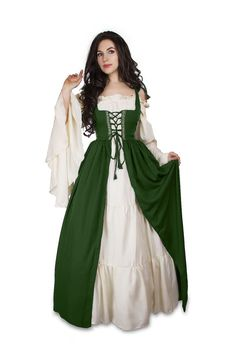Renaissance Medieval Irish Costume Over Dress Fitted Bodice xxs/xs;s/m;l/xl;2/3x