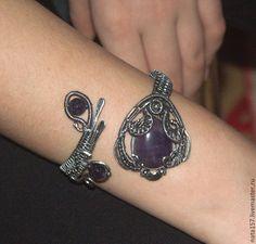 Купить Серебряный браслет с аметистами wire wrap - браслет, серебряный браслет, Браслет ручной работы