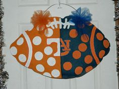 Custom Made to Order Shabby Chic  House Divided Auburn Tennessee Football Burlap Door Hanger on Etsy, $35.00