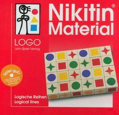 NIKITIN MATERIAL LOGISCHE REIHEN. Doel van het spel is blokjes met verschillende kleuren en vormen in bepaalde sequenties te ordenen. Stimuleert het geheugen en logisch denken.