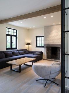 House- black windows- fireside
