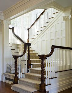 Love the bench on the side of the staircase. I have NO desire to have a home big enough to house this staircase. I have enough to clean already :) Future House, Traditional Staircase, Enchanted Home, Foyers, Staircase Design, White Staircase, Staircase Ideas, Staircase Molding, Basement Staircase