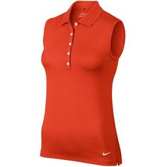 Nike Victory Sleeveless Golf Polo 2015 Ladies Team, Small, Orange/White #Nike #PoloShirt