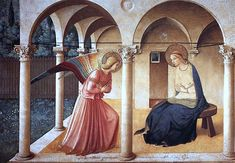 """The Annunciation"" (1437-1446), Fra Angelico. Fra Angelico, monk and artist of the 15th century, frescoed (meaning painted on wet plaster) The Annunciation, one of the most revered masterpieces of all time.  Artists down the centuries have been mightily influenced by this classic work."