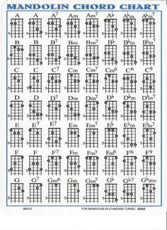 Mandolin Chord Chart for Mando Lesson G D A E | eBay