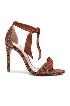 $595 - Alexandre Birman Suede and Metallic Fabric Clarita Heels in Cinnamon