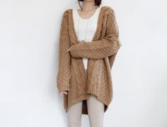 large beige  cardigan wool sweater top from Lie-Ly et Zamong by DaWanda.com