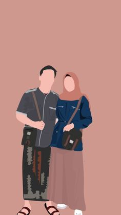 Cute Muslim Couples, Cute Anime Couples, Couple Hijab, Vector Character, Portrait Vector, Art Simple, Wattpad Book Covers, Cute Couple Wallpaper, Islamic Cartoon