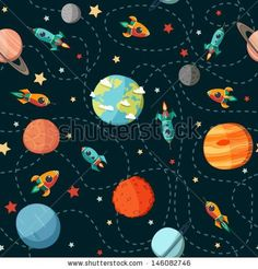 Süße raketen, seamless space pattern, Planets, rockets and stars, cartoon spaceships