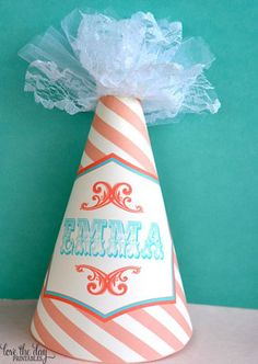 * Vintage Circus Birthday Party Hat (PRINTABLE) LOVE THE LACE!!!