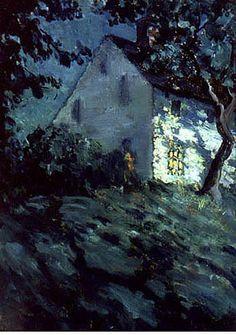 "Matilda Browne (1869-1947)  ""Saltbox by Moonlight"""