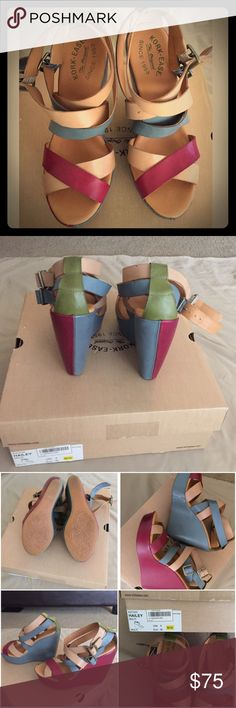 """Wedge sandal, leather upper, rubber sole. Hailey Bionco wedge sandal. Open toe, leather construction, crisscross strap detail. Adjustable side buckle strap closure.  wedge heel approximately 5"""" platform 2""""   Worn only once, very comfortable and light weight. Kork-Ease Shoes Wedges"""