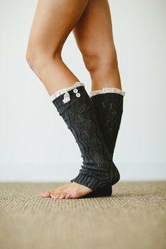 Charcoal Knit Lace Button Leg Warmer #nanamacs