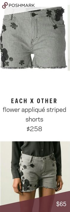 Denim shorts leather flower appliqué Beautiful denim pair of Each X other denim shorts. Floral appliqué are made of leather  These are BNWT and purchased at Barney's New York. each X other Shorts Jean Shorts