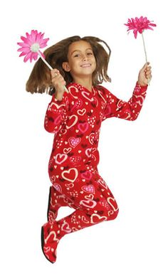 """Hearts Glow"" Kids Fleece Footy Pajama"