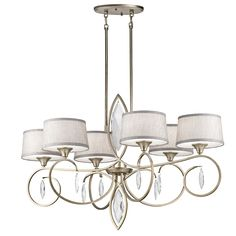 Kichler 43569 Casilda 6 Light Wide Chandelier with Tapered Fabric Shades Sterling Gold Indoor Lighting Chandeliers Chandelier Shades, Chandelier Lighting, Simple Chandelier, Transitional Chandeliers, Large Chandeliers, Crystal Chandeliers, Glass Diffuser, Light Bulb Types, Cool Lighting