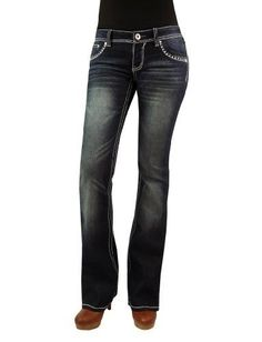 Angels Junior's Three Button Basic Medium Wash Boot Cut Jeans ...