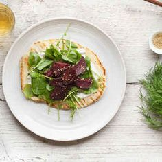 Dukkah-Spiced Beets with Grilled Naan and Yogurt Feta Sauce