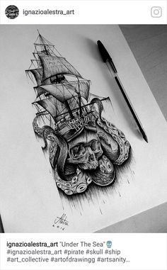 World of tattoos Tattoo Scull, Backpiece Tattoo, Sea Tattoo, Kracken Tattoo, Octopus Tattoos, Skull Tattoos, Body Art Tattoos, Hand Tattoos, Cool Tattoos
